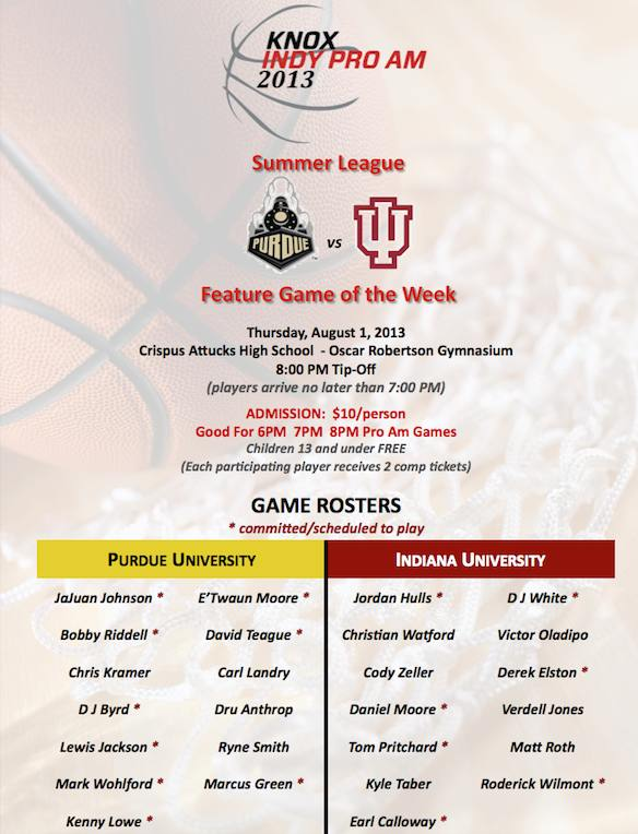 Knox Indy Pro Am to tip-off with rivalry game between Indiana and Purdue alumni.