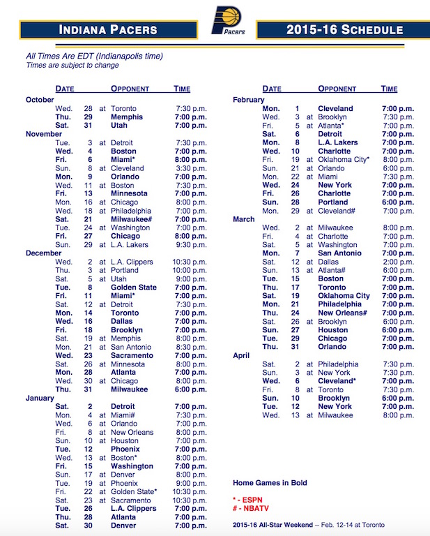 Pacers 2015-16 schedule